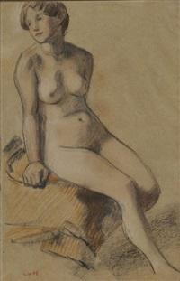 weiblicher akt, sitzend. zeichnung in by ludwig von hofmann