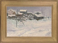 the village at dusk (+ winter in babino; 2 works) by leonid ignatevich vaishlya