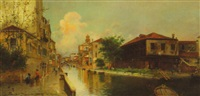 venetian canal, residences and bridge, with flower seller, laborers, and denizens by emilio fossati