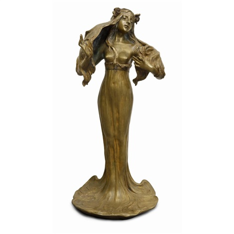 art nouveau style female figural bronze lamp by georges flamand