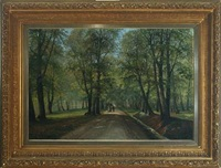 forest scenery with walking couple by siegfried hass