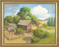 a farm scene with two men loading hay into a barn with a house on one side and a cattle corral on the other by edward burns quigley