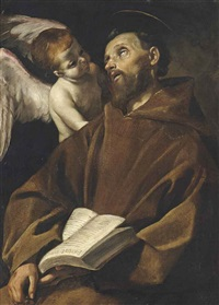 saint francis reading the passio domini nostri jesu christi in ecstasy supported by an angel by giovanni lanfranco