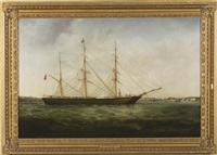 the barque margaret longton at anchor off liverpool by william kimmins mcminn