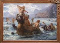 an einer felsenküste fröhlich badende nixen und kentauren by ernst albert fischer