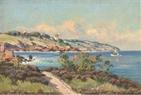 a mediterranean coastal landscape with a boat off shore by corelli