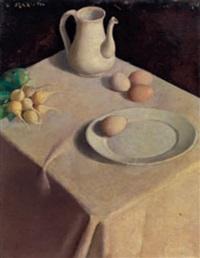 tavolo con uova e brocche by umberto mariotti