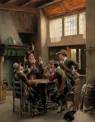 pokulierende musketiere in einer holländischen stube by k vollmark
