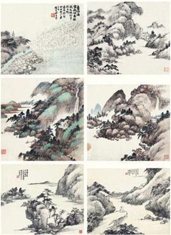 山水 (六件) 6 works various sizes by xiao junxian