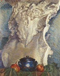 stilleben med marmorbyst by nils kreuger