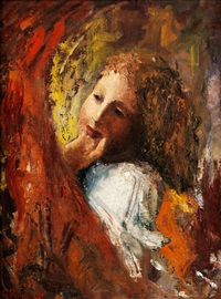 frauenkopf in abstrahierender farbkomposition in rot und gelb by giuseppe rivaroli