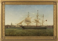 the barque james longton on the mersey off liverpool by william kimmins mcminn
