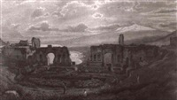 die ruinen des griechischen theaters von taormina mit dem  mittelmeer und atna im hintergrund by julius zielke