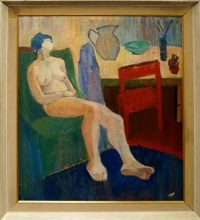 nude seated on a green chair with violet drape, jug, bowl and artist's materials on a table with a red chair by henryk gotlib