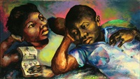 mother and child reading by r. exume