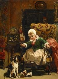 kleinkind mit drei welpen by camille joseph etienne roqueplan