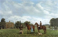 the family and horses at wootton hall, wootton wawen by brian tovey
