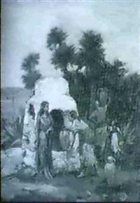 sydlandsk landskab med kvinder der henter vand ved bronden by pierre outin