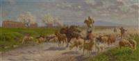 hirten mit schafherde in campagnalandschaft by alfredo de simoni