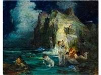 symbolistisch-mythologische szene mit darstellung einer lyra spielenden nymphe zwischen am felsen sowie in einer bucht lagernden figuren by giuseppe rivaroli