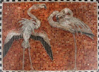 a large mosaic decorated with motif in shape of flamingos by kay simmelhag