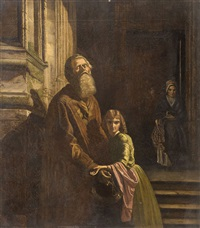 the blind beggar, an allegorical copy of josephus laurentius dyckmans the blind beggar. models are john ruskin and annie miller by charles fairfax murray