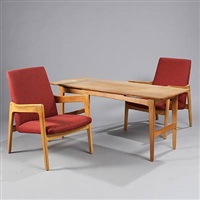 easy chairs and coffee table (set of 3) by harbo solvsteen