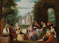 elegante musizierende gesellschaft in einem park, im hintergrund ein fluss by louis de caullery
