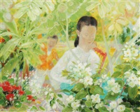 mother and child in a garden by le pho