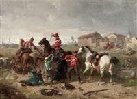 husaren überfallen ein dorf by louis (ludwig) braun