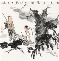 怀素书蕉图 镜心 设色纸本 (figures) by liang zhanyan