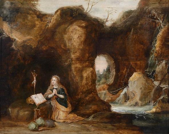 die büssende heilige maria magdalena in einer grotte by frans francken the younger