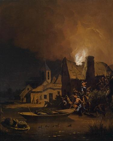 ein brennendes haus unten rechts reste eines monogramms by egbert lievensz van der poel