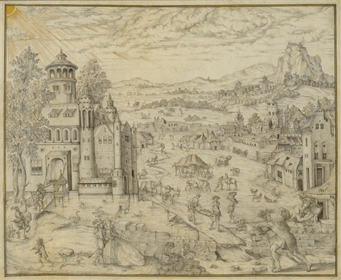 figures and animals in a landscape with a castle in the distance by hans bol
