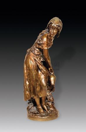 汲水 纯铜 雕塑 a la recherche de leau by mathurin moreau