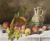stilleben med druvor och krus by alois zabehlicky