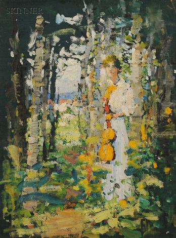 woman in the forest by anna s fisher