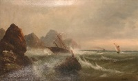 coastline scene with figures and boats by j. hart