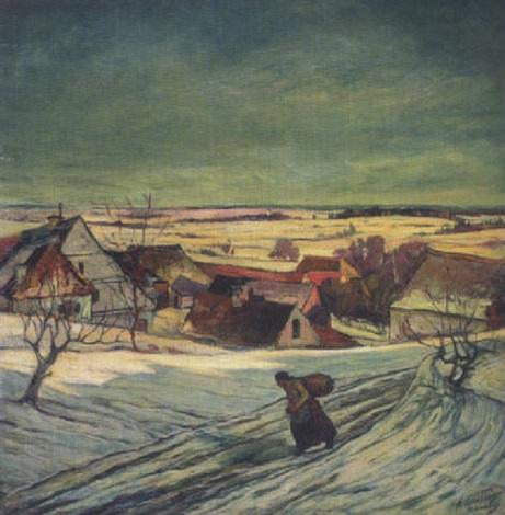 winterlandschaft im dachauer land by alfons letailleur