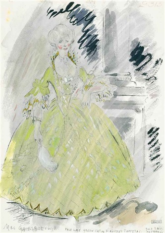 costume design for mrs gainsborough the gainsborough girls costume design for margaret the gainsborough girls pencil and watercolor 2 works by cecil beaton