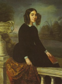 portrait of a young woman with curls, seated on a shawl with a book in hand by alexandre juliard