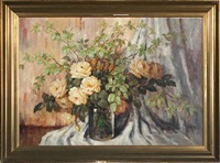 still life with beech branches and roses in a vase by carl h. fischer