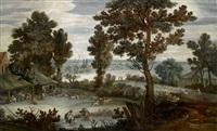 eine weite flusslandschaft mit bauern beim schafscheren by pier paolo (g.b. carracci) bonzi