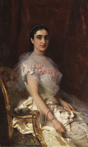 porträt einer eleganten dame mit fächer by konstantin egorovich makovsky