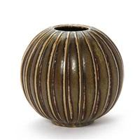 round vase, modelled with vertical fluted pattern by arno malinowski
