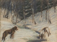 dogs by a winter stream by hilda ward