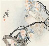 海棠鹦鹉 镜框 设色纸本 by ren bonian
