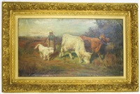 highland cattle with milkmaid herding a white calf by joseph denovan adam