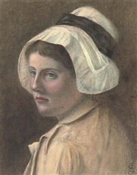 portrait of a lady, wearing a bonnet by w. st. clair simmons