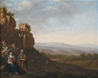 italienisierende landschschaft mit der heiligen familie bei der ruhe auf der flucht nach ägypten by johan van haensbergen
